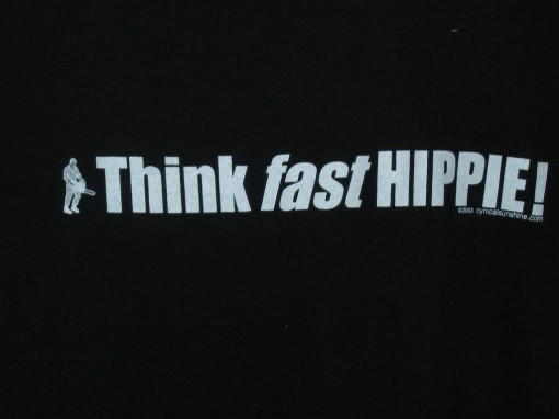 think fast hippie t shirt, logging, bc, design squish blog
