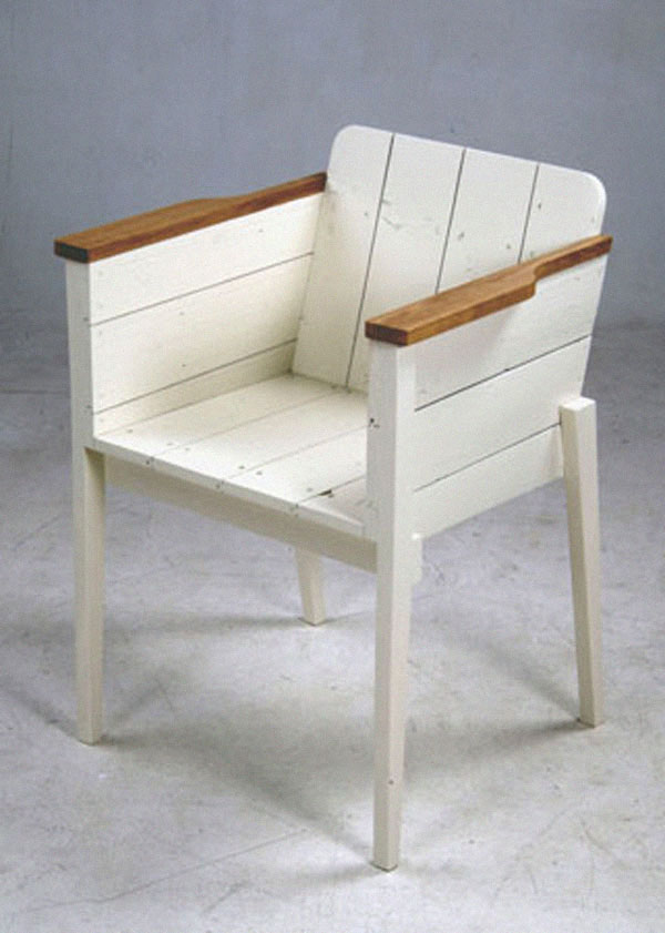 white scrap wood chair, design squish blog