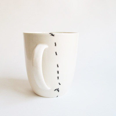 ant pattern coffee mug, nature inspired deign, design squish blog