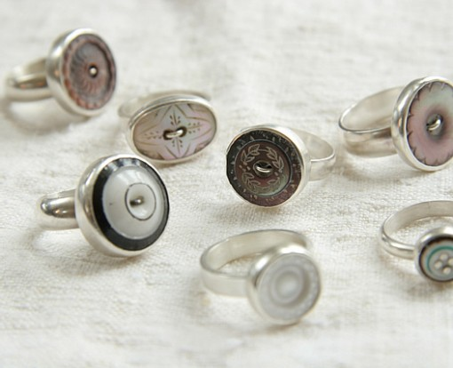 Antique vintage button rings thumb