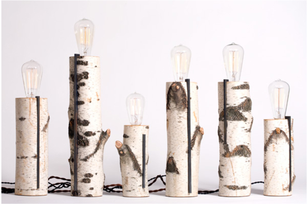 birch log lamp, autumn workshop, design squish blog