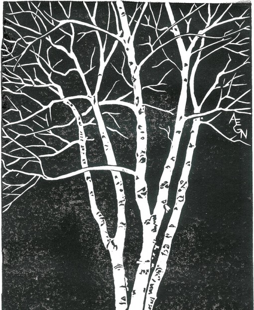tree, woodblock print, design squish blog