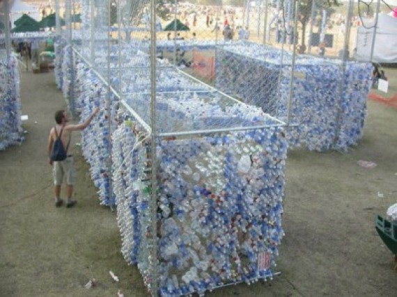 interactive bottle sculpture, cup city, austin, texas, plastic water bottles, design squish blog