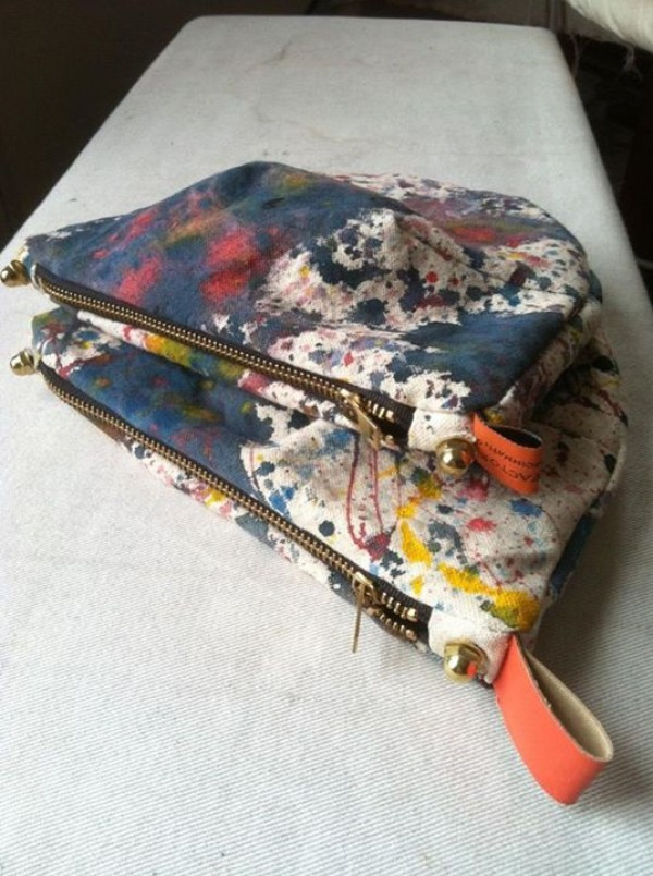 brush factory's splatter handmade pouches, made in US, design squish blog