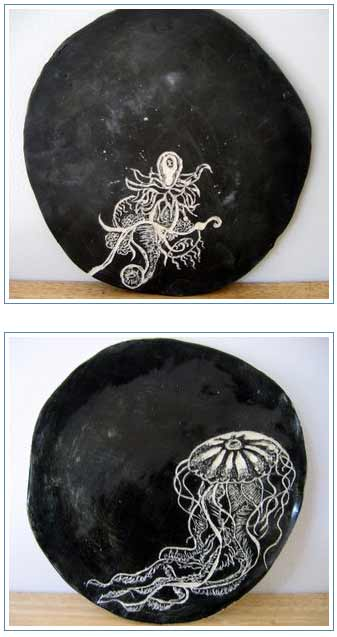 ceramics inspired by nature,ceramic plates inspired by Ernst Haeckel's biological drawings, design squish blog