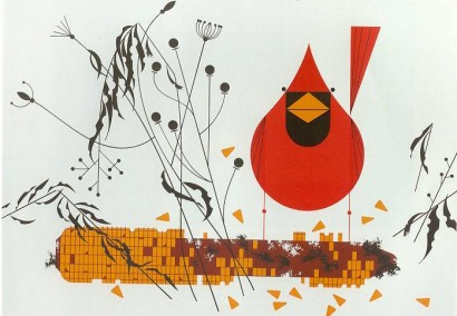 charley harper, bird in the snow