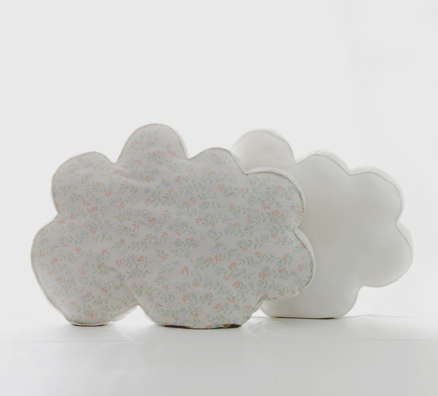 cloud pillow,  ditsy floral reclaimed cotton fabric, design squish blog