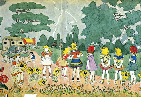 idyllic landscape, paradise by henry darger, design squish blog