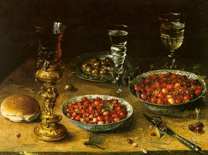 Flemish Painter, Osias Beert,  Still Life with Cherries & Strawberries in China Bowls