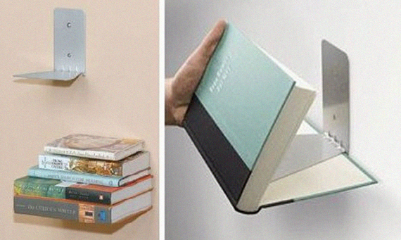 space saving invisible floating bookshelves, design squish blog
