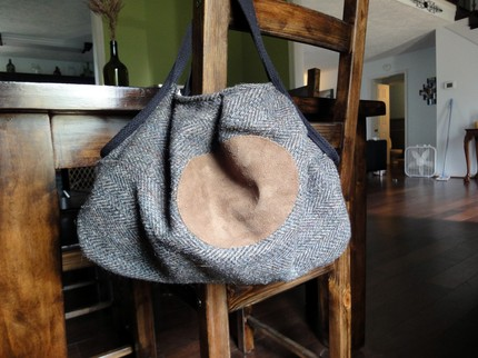 upcycled slouch bag made from the sleeves of a mens wool dress coat
