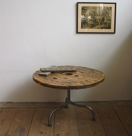 industrial vintage furniture, coffee table made from recycle cabledrum
