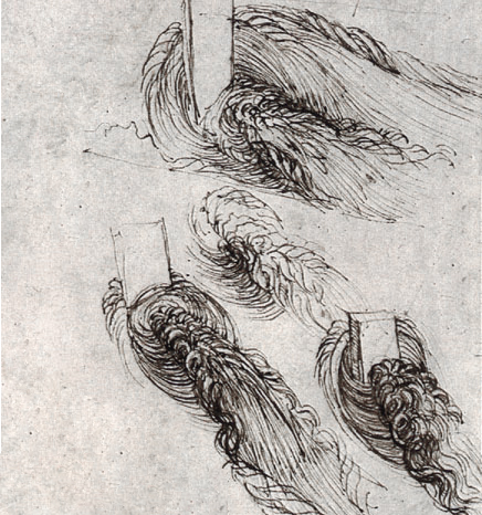 leonardo da vinci's sketch of water