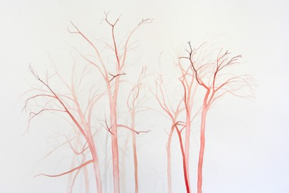 pink trees watercolor