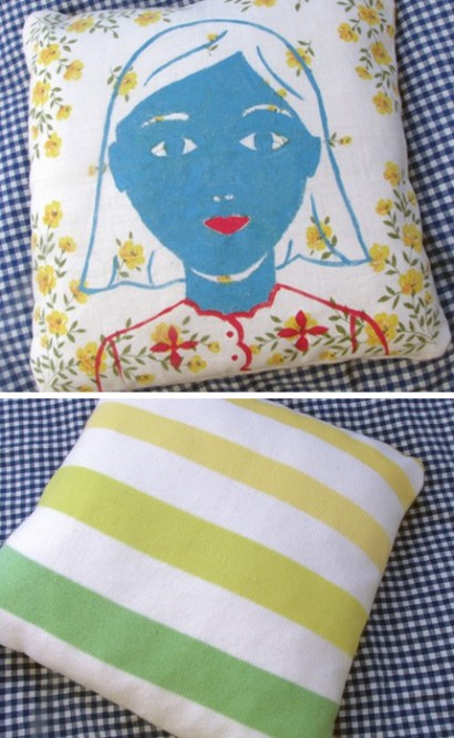 pillow, vintage fabric, handkerchief pillow, portrait pillow