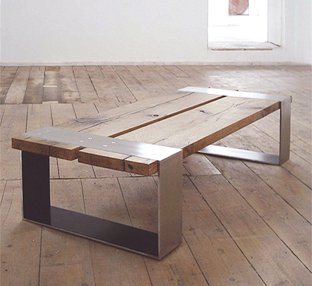table from discarded and reclaimed materials
