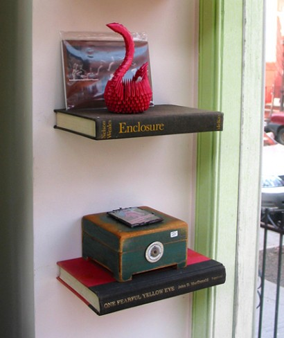 shelves made from recycled old books, little fish furniture, design squish blog