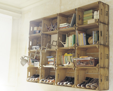 recycled wooden crates shelving system