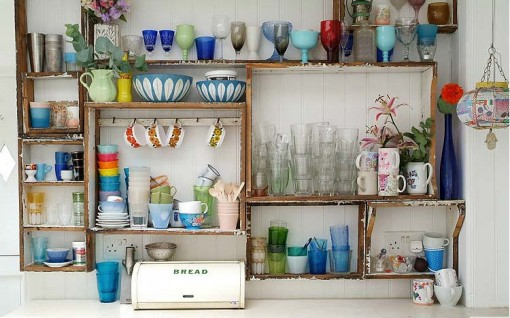 shabby chic reused wood kitchen shelves, flea market cups