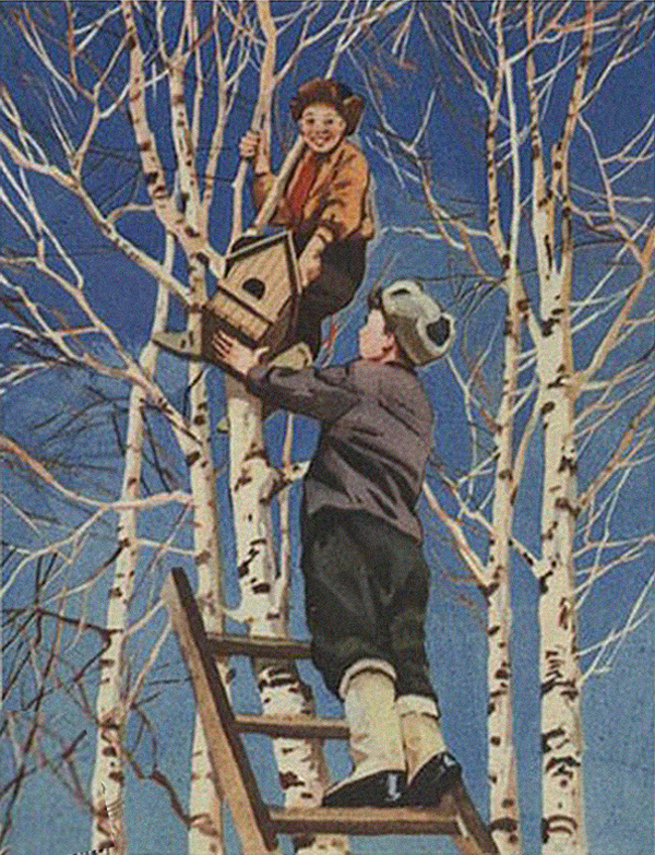 soviet postcards, putting up birdhouse, design squish blog