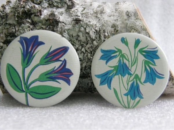 70's russian bluebells buttons, design squish blog