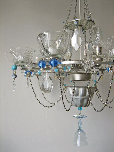 used tea cups, glass bottles and wine glasses chandelier