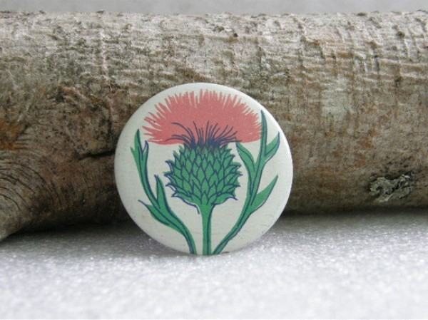 70's russian thistle button, design squish blog