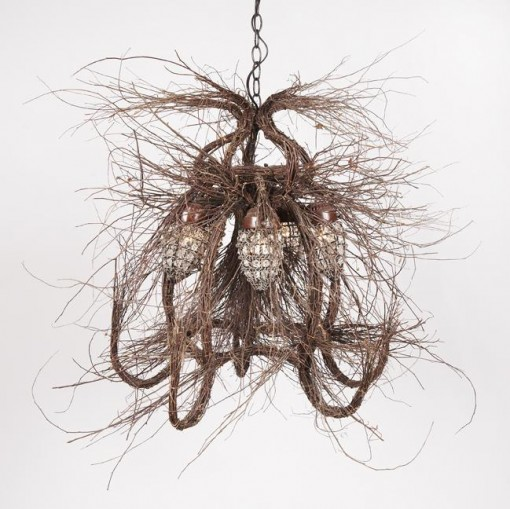 twig chandelier, nature inspired