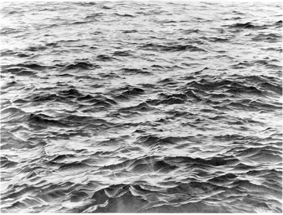 vija celmins, charcoal drawings of water