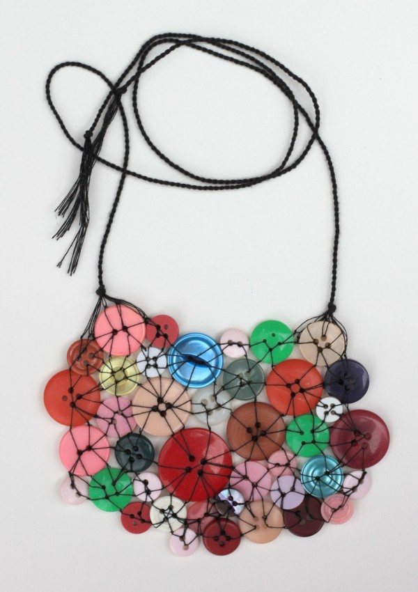 vintage buttons necklace, handmade in brooklyn, design squish blog