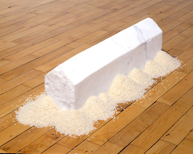 wolfgang laib, art made with natural materials, rice, marble