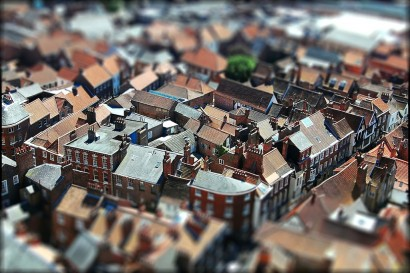 miniature tilt shift photo of York, design squish blog